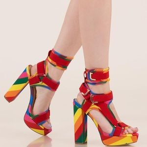 Liliana glamrock rainbow wedge heels festival EDC